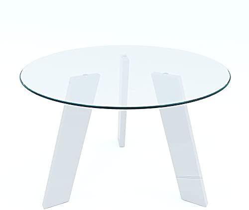 Tavolino Rotondo In Vetro Temperato E Metallo Da Salotto Soggiorno Studio Sala Da Pranzo Tavolo Da Caffè Design Moderno Ed Elegante Providence 110 x 75 x 110 cm Bianco
