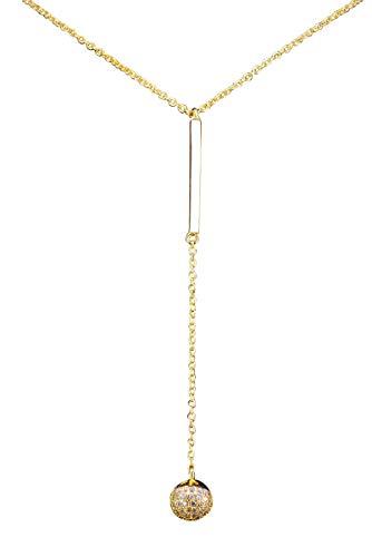 NicoWerk SKE462 Zilveren damesketting met bolvormige hanger, 925 sterling zilver, staafje, goud, steen, zirkonia, glanzend