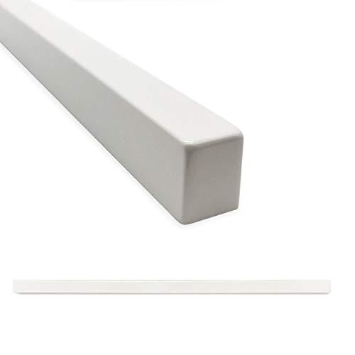 Square Tile Trim 1/2 x 12 inch Flat Pencil Decorative Shower Ceramic Tile Edge Backsplash Liner Wall Molding - Polished Bright White (6 Pack)