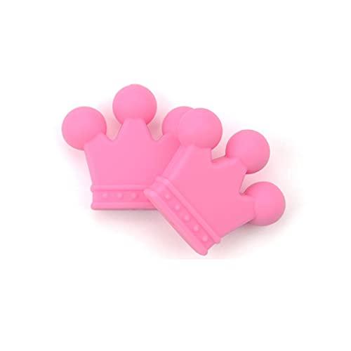 Cuentas de corona de silicona 10 Uds., Cuentas de silicona de grado alimenticio sin BPA, collar de dentición de juguete para masticar para bebés, fabricación de joyas de enfermera DIY, rosa