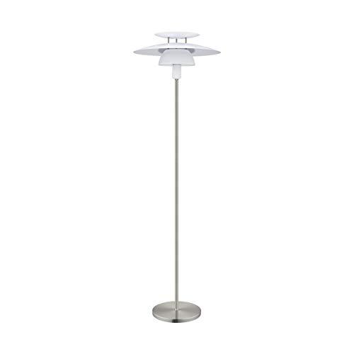 EGLO Stehlampe Brenda, 1 flammige Stehleuchte, Material: Stahl, Fassung: E27, inkl. Trittschalter, nickel matt, weiß