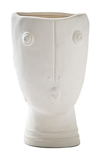 Jarrón de flores I3C con diseño de cara de cerámica, florero pequeño y moderno para decoración del hogar, centros de centro de la sala de estar, decoración para el hogar (hora)