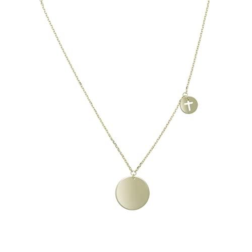 Collar ajustable de oro amarillo de 14 quilates de 13 mm Dsk y mini corte religioso cruz de fe dsk dsk ajustable joyería regalos para mujeres – 46 centímetros