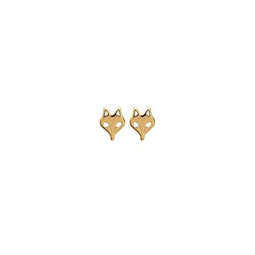 Women's Gold-Plated Wolf Head Earrings