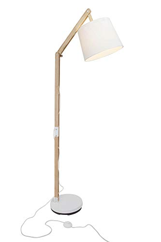 Lampe sur pied avec armature en tissu et bois, 1x E27max. 60W, bois, blanc