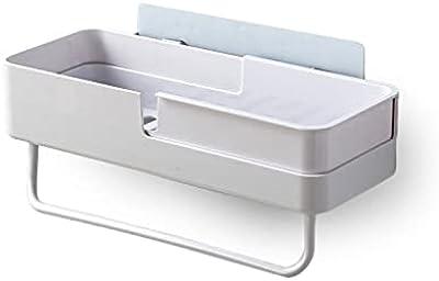 浴室ラック 壁を傷付けない粘着シート式 浴室ラックストレージラック コーナー お風呂 浴室収納 壁掛け式 穴あけ不要 (ホワイト)