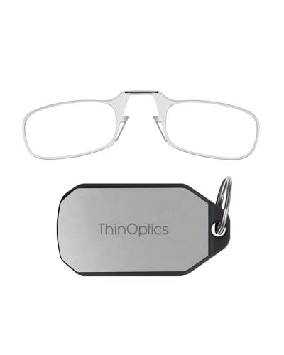 ThinOptics Keychain Case + Rectangular Reading Glasses, Clear, 44 mm + 1.5