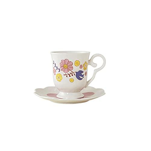 ZANZAN Patrón de pájaro Volador Taza de café y platillo, Taza de café de cerámica de 300 ml, Taza de té Multifuncional y platillo Conjunto-Azul/Rosa (Color : Pink)