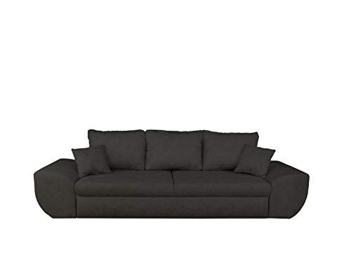 lifestyle4living Big Sofa in schwarz mit Schlaffunktion und Bettkasten, Microfaser | XXL Couch inkl. 3 extragroßen Rücken-Kissen und hochwertiger Federung