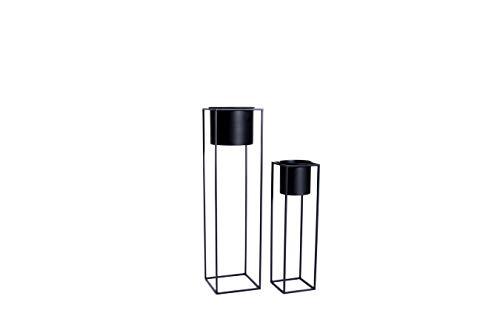 LIFA LIVING Conjunto de 2 Soporte para macetas Negro, estanteria para florero Dormitorio, portamacetas Industrial Metal de Dos tamaño Incluye macetas.