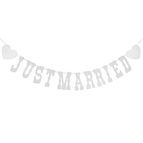 opamoo Guirnalda Boda Just Married, Just Married Banner Decoración Fiesta Boda letras...