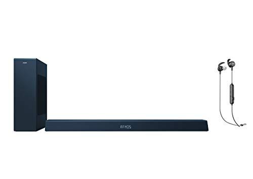 Philips B8405/10 Soundbar mit Subwoofer kabellos - 2020/2021 Modell + Philips Audio Sportkopfhörer In Ear, Schwarz, One Size