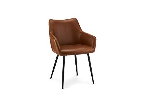 Ibbe Design 2er Set Cognac Braun Kunstleder Esszimmerstühle Vintage Industrial Lounge Küchenstühle mit Armlehnen Anette, Schwarz Metallgestell, L56x B56x H81cm