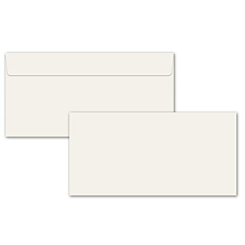 100x Briefumschläge DIN Lang - 11 x 22 cm - mit Haftklebung Farbe: cremefarben - 90 g/m² - ohne Fenster