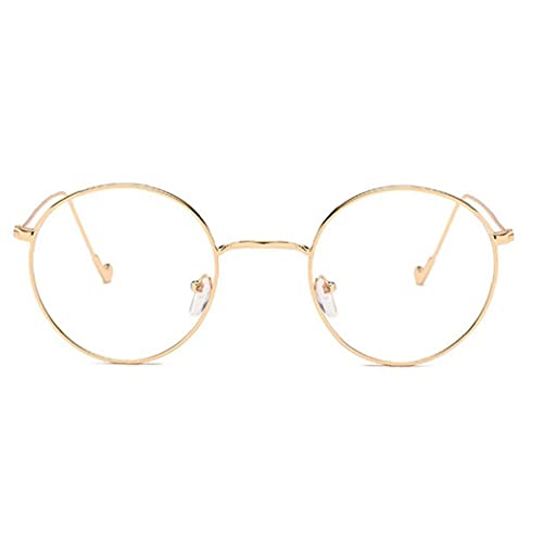 Kacniohen Marco Redondo de Vidrio Claro de Lente del Metal Marco Retro Gafas Gafas Decorativo de Oro Redondo con Espejo Plano