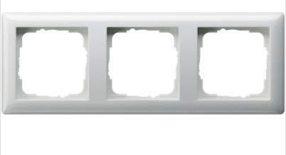 GIRA System 55 Standard E2, Reinweiß glänzend, Steckdose Schalter Rahmen Wippe (021303 Rahmen 3-fach, 1 Stück)