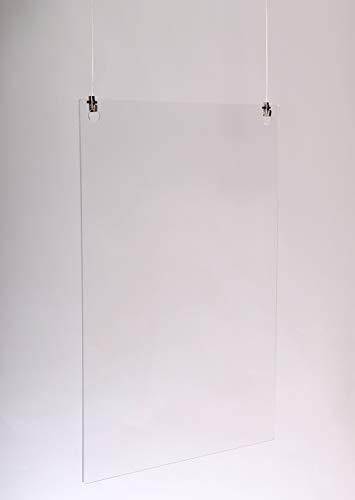 Queence | Hochwertiger Tröpfchenschutz aus Acrylglas zum Aufhängen | Hustenschutz für Empfangsbereich | Hängend | Niesschutz | für Deckenmontage, incl. Aufhängung, Größe:50x70 cm