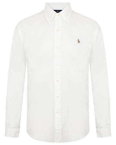 Ralph Lauren Camicia da uomo, vestibilità slim fit, in cotone Oxford bianco M