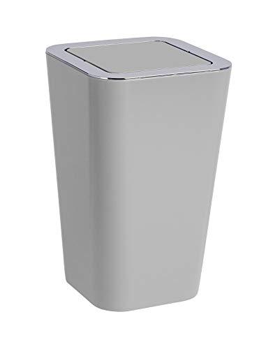 Wenko Kosmetikeimer Candy 6 Liter, Badezimmer-Mülleimer mit Schwingdeckel, Abfalleimer aus Kunststoff, 18 x 28,5 x 18 cm, grau
