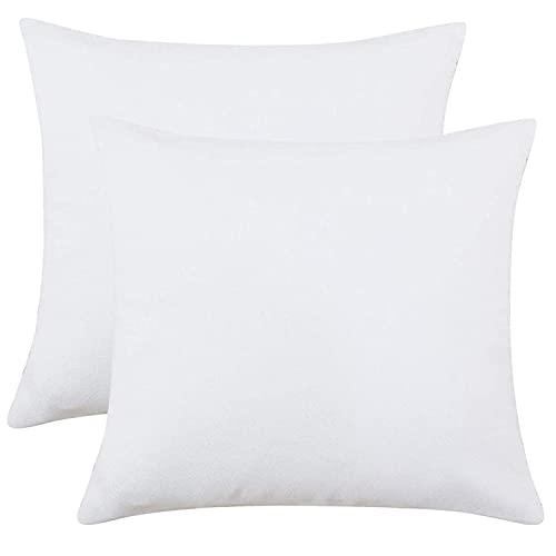 Homely Ideas - Federa per cuscino, 40 x 40 cm, 100% policotone, tinta unita, facile da pulire, colore: bianco, 40 x 40 cm