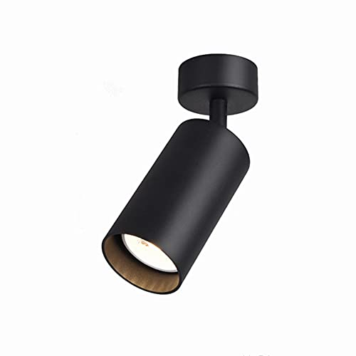 TANGIST 7W LED GU10 Bombilla Superficie Reemplazable Montado LED Downlight Cálido/Frío Blanco Techo Luz del punto para la cocina Pic TV Fondo (Emitting Color : Black without Bulb)