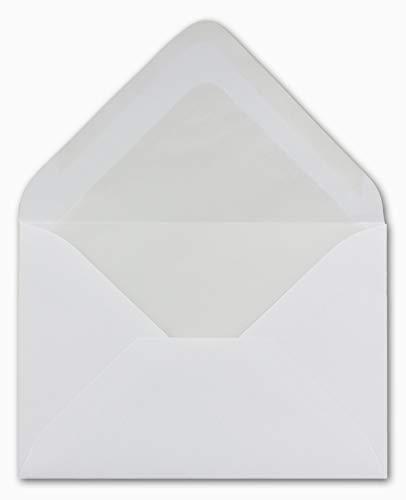 100 DIN B6 Briefumschläge mit Seidenfutter weiß 12,5 x 17,6 cm 80 g/m² Nassklebung Post-Umschläge ohne Fenster ideal für Weihnachten Grußkarten Einladungen von Ihrem Glüxx-Agent