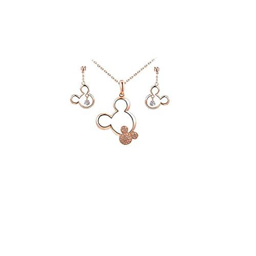 Naisicatar Collar Sterling Silver Cubic Zirconia Mickey Mouse Colgante Colgante para Mujeres - Plata