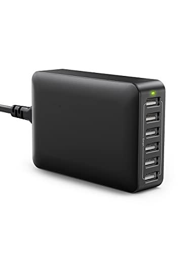 USB Ladegerät 6-Port 60W USB Ladestation Mehrfach mit iSmart Technologie für iPhone 13/12/11 Pro Max XS Max XR X 8 7 Plus, Galaxy S21 S9 S8 Plus, LG, Huawei,Smartphones, Tablets, iP-ad Pro Air Mini