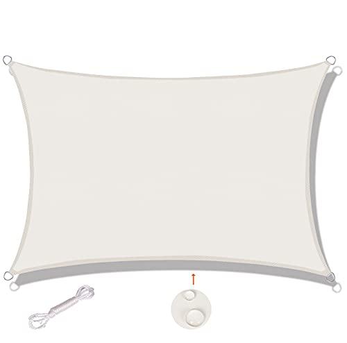 SUNNY GUARD Toldo Vela de Sombra Rectangular 2x2m Impermeable a Prueba de Viento protección UV para Patio, Exteriores, Jardín, Color Crema