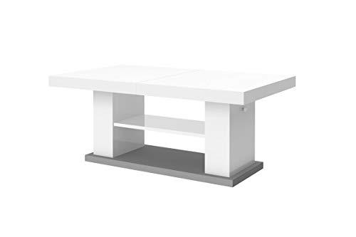 Preisvergleich Produktbild Design Couchtisch Tisch Matera 2 Wohnzimmertisch Hochglanz Saülentisch höhenverstellbar ausziehbar Esstisch Sofatisch (Grau / Weiß Hochglanz)