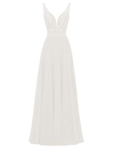HUINI Damen Brautjungfernkleider Lang Chiffon Abendkleider Hochzeitskleider V-Ausschnitt Ballkleider Übergrößen Elfenbein 44