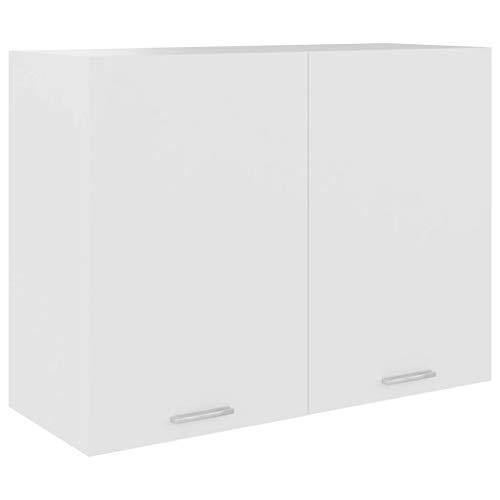 vidaXL Hängeschrank 2 Regalböden Küche Schrank Einbauküche Küchenzeile Küchenmöbel Oberschrank Küchenschrank Schwarz 80x31x60cm Spanplatte