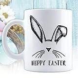 N / A Felices Pascuas, Conejito de Pascua, Tazas de café con Leche, Regalo para Pascua, Canasta de Pascua, Taza de cerámica, Taza Divertida de Pascua, Orejas de Conejo