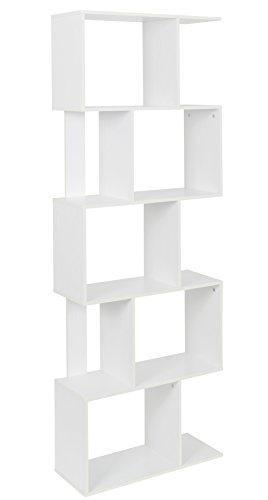 ts-ideen Design Mensoliera 10 Scomparti Libreria Scaffale Mobile di conservazione per Libri e CD Legno in Bianco 170 x 60 cm