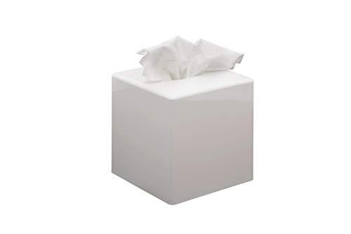 G.V.R. Caja y dispensador de pañuelos, fabricado en Italia, fabricado en ABS reciclable y disponible en varios colores, 132 mm x 132 mm x 132 mm, ideal para baño, salón, hotel y casa (cubo blanco)