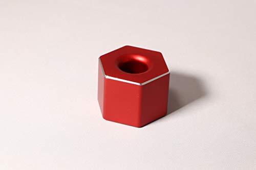 ペン立て 一本用 卓上 ペンスタンド アルミ合金製 オフィス 受付 おしゃれ文房具 (レッド, 六角)