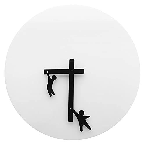 xinxin Reloj de Pared Time2Play Reloj de Pared Hombres pequeños aferrados a Las Manos Gimnastas Diseñador Divertido Reloj Movimiento de Cuarzo Reloj de Pared Moderno Abstracto