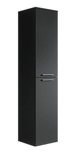 Badplaats B.V. Armoire de Rangement de Saturnus Hauteur : 130 cm Noir - Meuble de Rangement Haut Placard Armoire Colonne