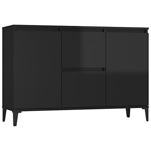 vidaXL Aparador de aglomerado Negro Brillante 104x35x70 cm