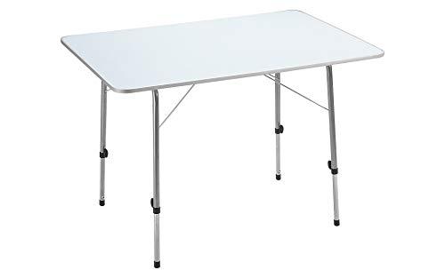 Berger Campingtisch, weiß, höhenverstellbar, Stahlgestell, bis 50 kg Belastbar, Tischfläche L 80 x B 60 cm, Klapptisch