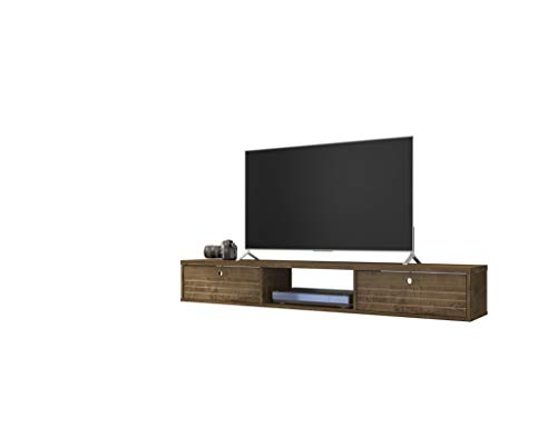 Manhattan Comfort Liberty Contemporary Living Room Wall Mounted Entertainment Center with TV Panel, 62.99', Rustic Brown