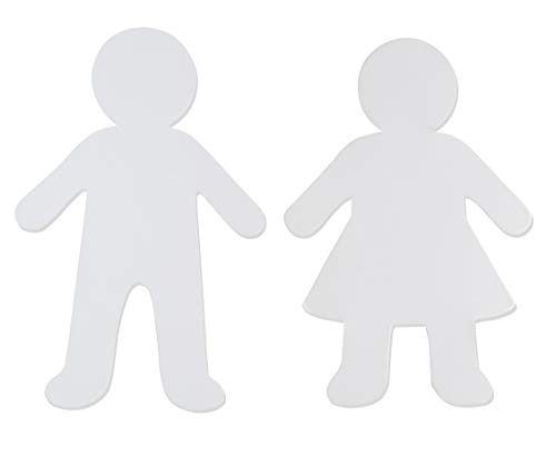 Paper Shapes - 48-Pack Blank Paper Cutouts, Kid Shaped Papers, Kids Shaped Cutouts, Perfect for Art Class Projects, Party Banner DIY, Art and Craft, Boy and Girl Design, White, 5.88 x 8.8 Inches