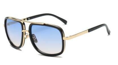 DERCLIVE Gafas de sol de aviador de moda retro negro blanco marrón hombres mujeres gafas vintage