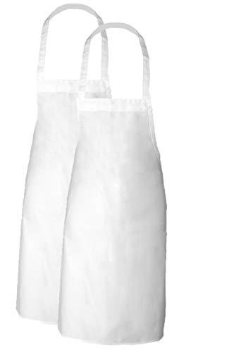 Elaine Karen Adult Men's Women's Unisex Chefs Bistro Adjustable Extra Long Ties, Professional Commercial Grade White Bib Apron-2PK