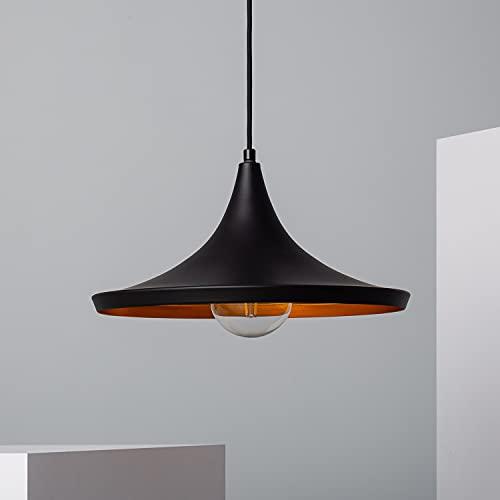 LEDKIA LIGHTING Lampada a Sospensione Presley Ø350x180x1555 mm Nero E27 Alluminio per Sale, Soggiorno, Cucina, Camera