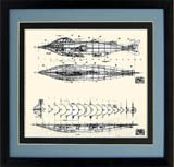 20,000 Leagues Under the Sea Nautilus Submarine Framed Technical Print 15x15 Inches