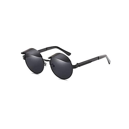 FEINENGSHUAItaiyj Gafas de Sol Hombre Lente Reflectante Gafas de Sol Redondas Pequeñas Gafas de Sol polarizadas Redondas Retro Hombres Retro Lente con Espejo Material de Metal