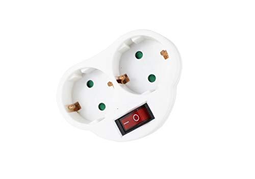 Adapter 2 Steckdosen mit 1 Schalter, Stecker 2 Steckdosen mit 1 Schalter weiß