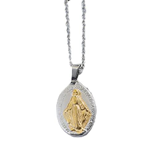Huaji Medalla milagrosa de acero inoxidable con colgante ovalado para mujeres y hombres, regalo de joyería salvaje