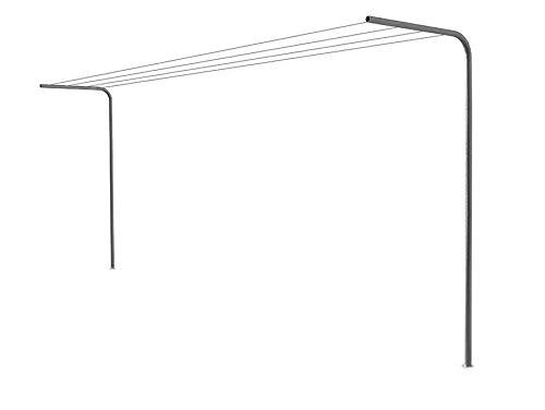 ANDRYS – Etendoir à linges en tube rond galvanisé - 2 Tubes Ronds à Sceller au Sol avec du Béton, Hauteur 220 Centimètres - Article 5064